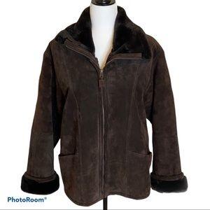 NWOT Ladies Hechter Jeans Brown Leather Jacket